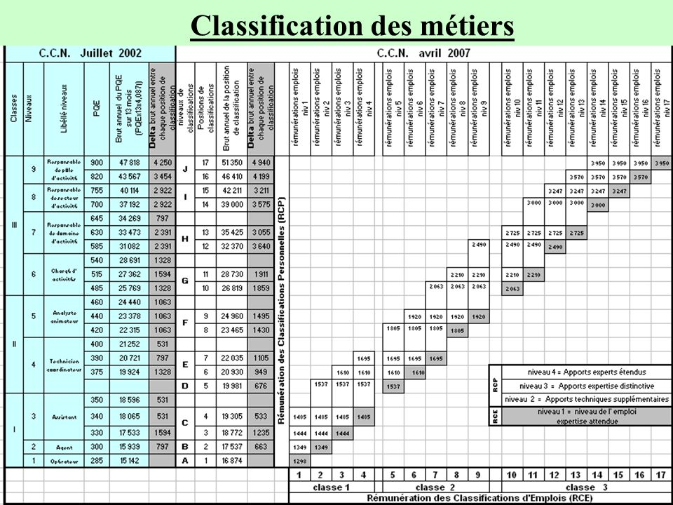 Commission nationale de négociation F.N.C.A. Synthèse SNECA Convention Collective Nationale au 27 juin 2007 14 Classification des métiers