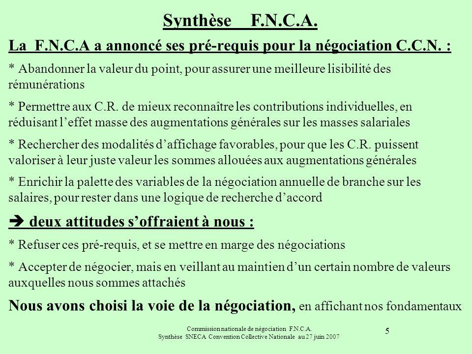Commission nationale de négociation F.N.C.A. Synthèse SNECA Convention Collective Nationale au 27 juin 2007 5 La F.N.C.A a annoncé ses pré-requis pour