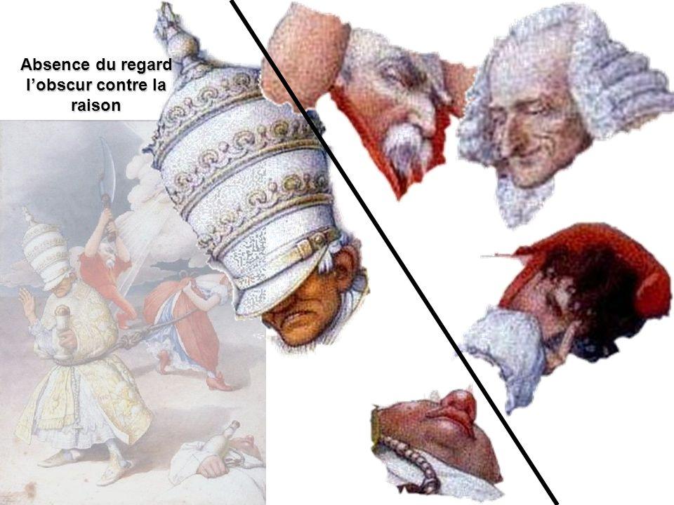 Lagnus dei en âne moine ivre de vin de messe, un verre sur la croix Le sacré-cœur en rave Le chapelet en tire-bouchon Une tiare à la prussienne de confortables Instruments de la passion de la passion Leucharistie en brioche Le Saint-esprit en cage Une critique antipapale, anticléricale et antireligieuse qui développe une tradition ancienne