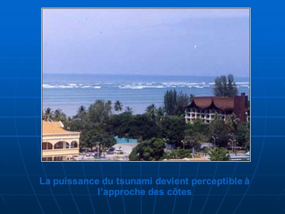 La puissance du tsunami devient perceptible à lapproche des côtes