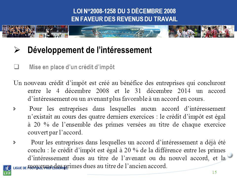 LOI N°2008-1258 DU 3 DÉCEMBRE 2008 EN FAVEUR DES REVENUS DU TRAVAIL Développement de lintéressement Mise en place dun crédit dimpôt Un nouveau crédit dimpôt est créé au bénéfice des entreprises qui concluront entre le 4 décembre 2008 et le 31 décembre 2014 un accord dintéressement ou un avenant plus favorable à un accord en cours.