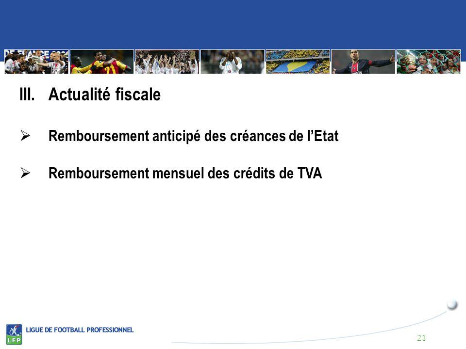 III.Actualité fiscale Remboursement anticipé des créances de lEtat Remboursement mensuel des crédits de TVA 21