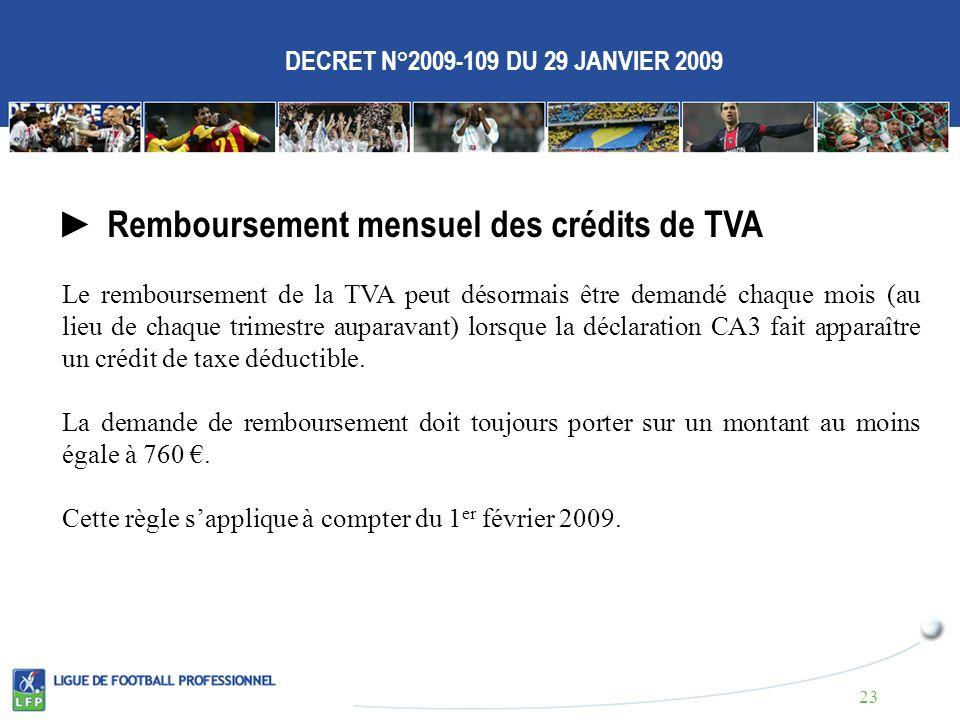DECRET N°2009-109 DU 29 JANVIER 2009 Remboursement mensuel des crédits de TVA Le remboursement de la TVA peut désormais être demandé chaque mois (au lieu de chaque trimestre auparavant) lorsque la déclaration CA3 fait apparaître un crédit de taxe déductible.