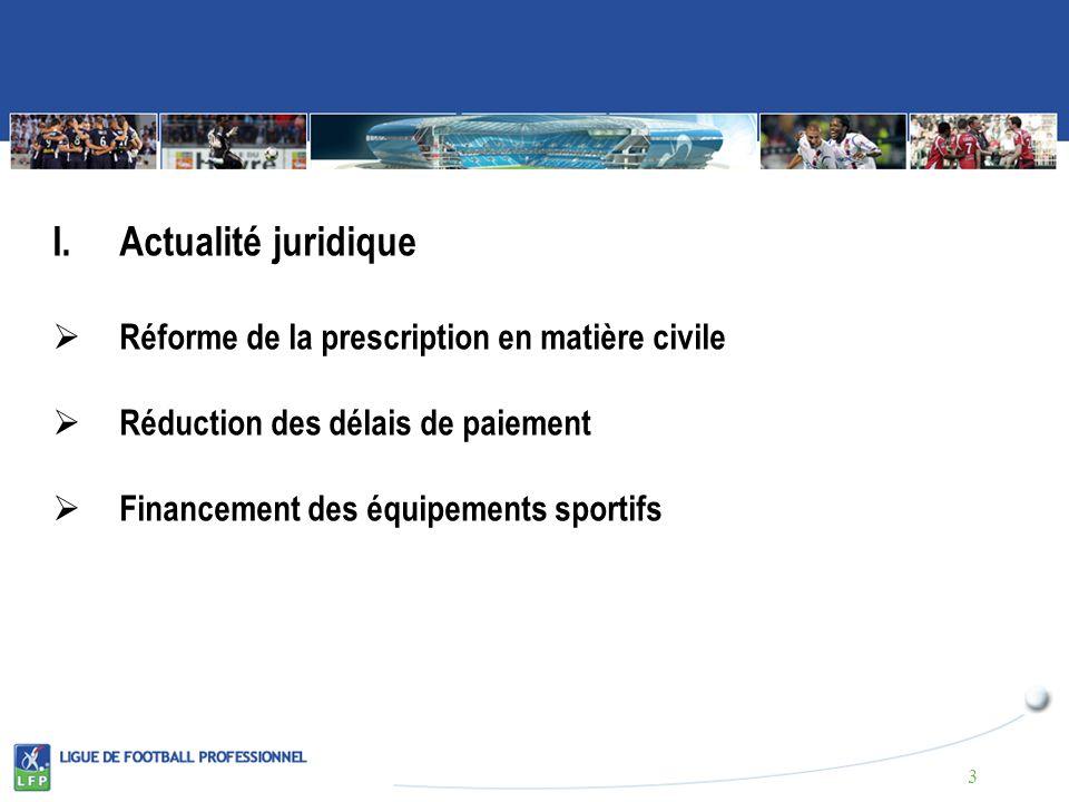 I.Actualité juridique Réforme de la prescription en matière civile Réduction des délais de paiement Financement des équipements sportifs 3