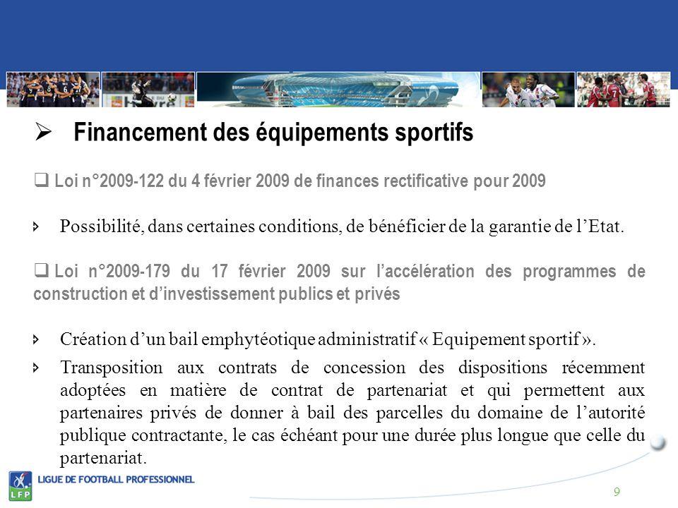 Financement des équipements sportifs Loi n°2009-122 du 4 février 2009 de finances rectificative pour 2009 Possibilité, dans certaines conditions, de bénéficier de la garantie de lEtat.
