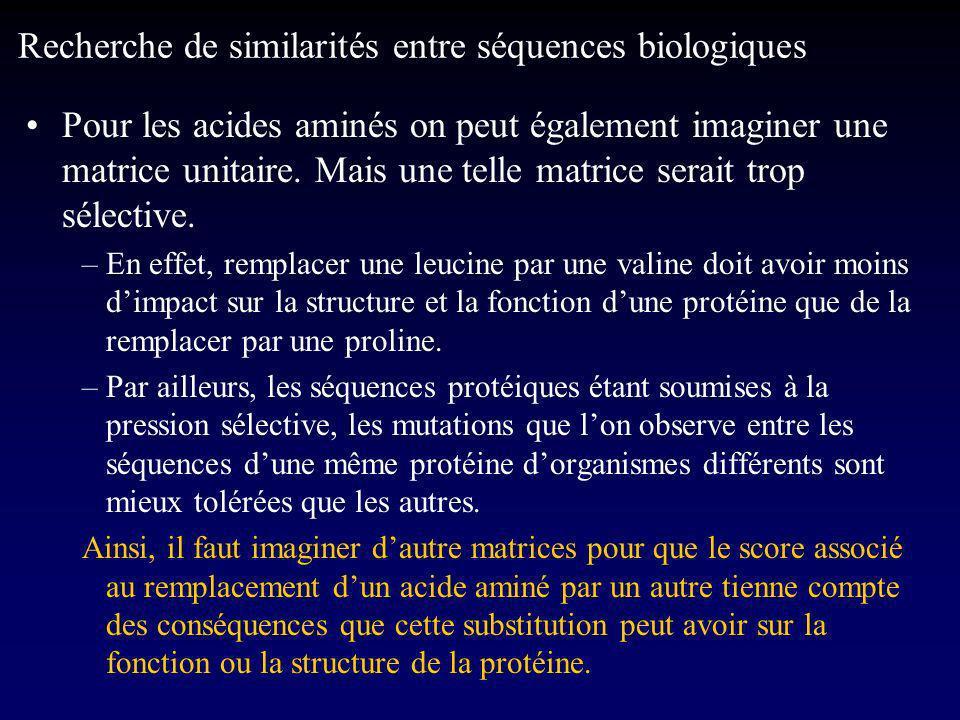 Pour les acides aminés on peut également imaginer une matrice unitaire.