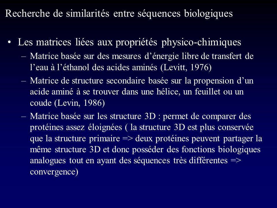 Les matrices liées aux propriétés physico-chimiques –Matrice basée sur des mesures dénergie libre de transfert de leau à léthanol des acides aminés (Levitt, 1976) –Matrice de structure secondaire basée sur la propension dun acide aminé à se trouver dans une hélice, un feuillet ou un coude (Levin, 1986) –Matrice basée sur les structure 3D : permet de comparer des protéines assez éloignées ( la structure 3D est plus conservée que la structure primaire => deux protéines peuvent partager la même structure 3D et donc posséder des fonctions biologiques analogues tout en ayant des séquences très différentes => convergence) Recherche de similarités entre séquences biologiques