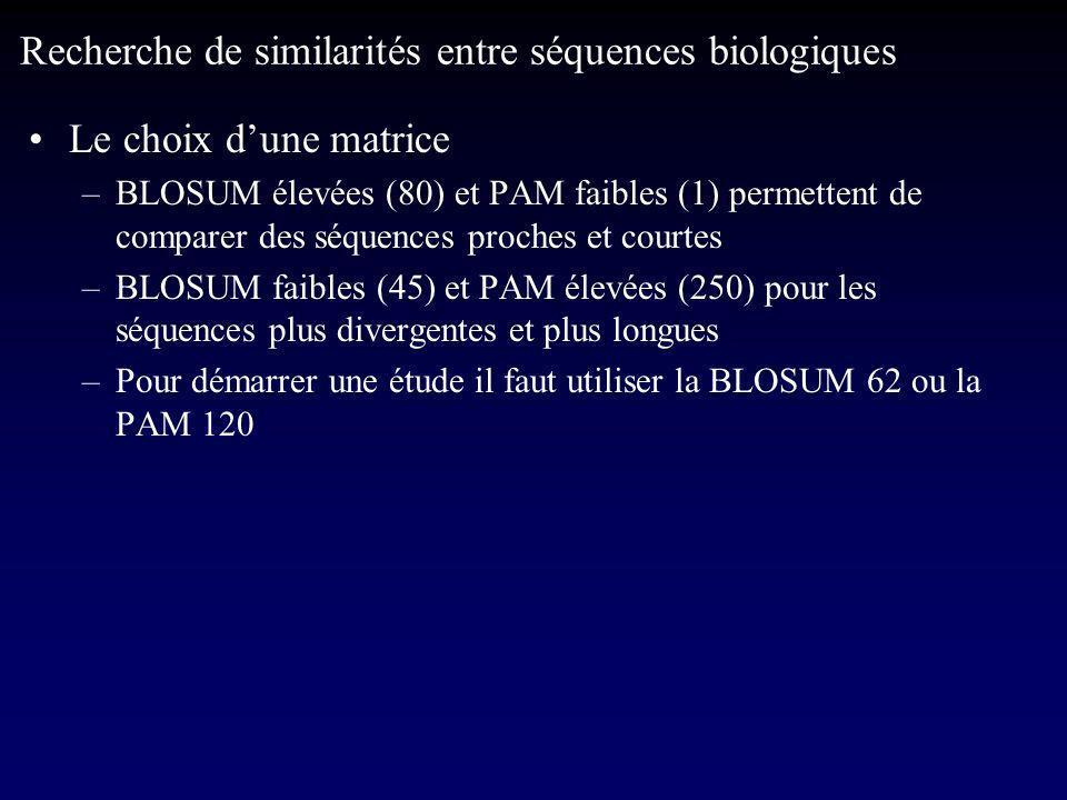 Le choix dune matrice –BLOSUM élevées (80) et PAM faibles (1) permettent de comparer des séquences proches et courtes –BLOSUM faibles (45) et PAM élevées (250) pour les séquences plus divergentes et plus longues –Pour démarrer une étude il faut utiliser la BLOSUM 62 ou la PAM 120 Recherche de similarités entre séquences biologiques