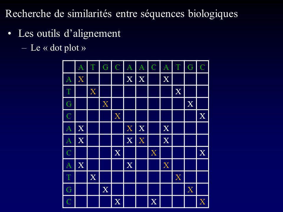 Les outils dalignement –Le « dot plot » Recherche de similarités entre séquences biologiques ATGCAACATGC AXXXX TXX GXX CXX AXXXX AXXXX CXXX AXXX TXX GXX CXXX