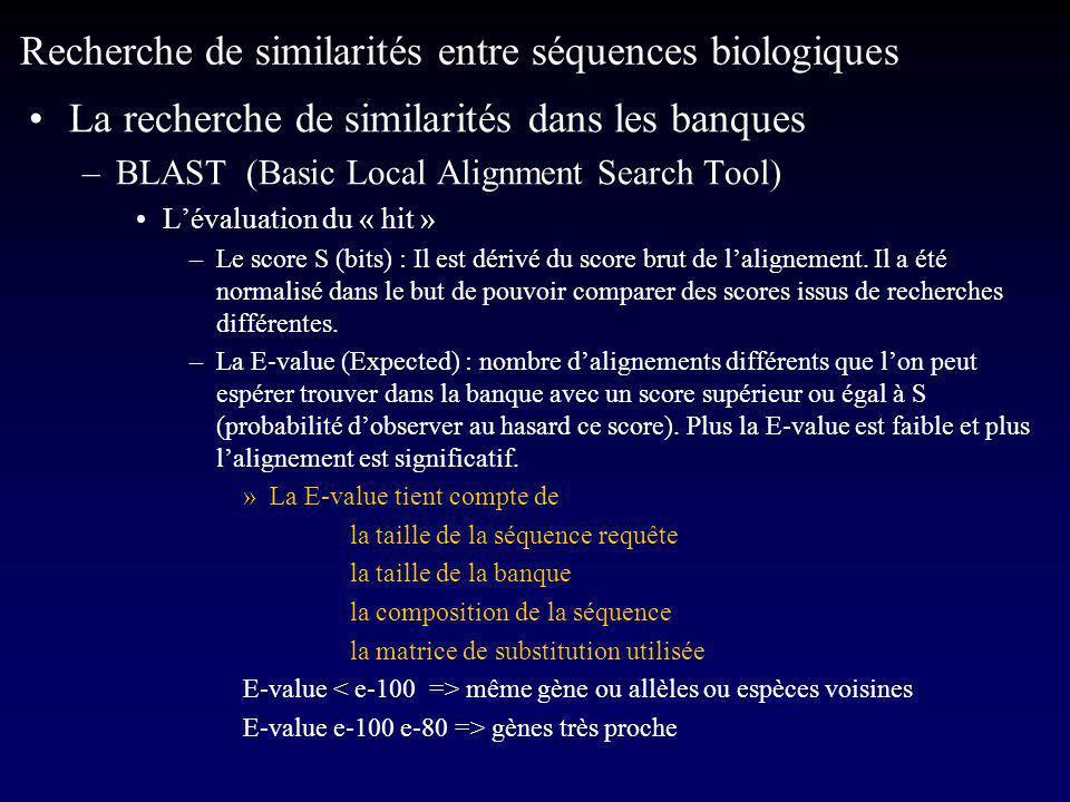 La recherche de similarités dans les banques –BLAST (Basic Local Alignment Search Tool) Lévaluation du « hit » –Le score S (bits) : Il est dérivé du score brut de lalignement.