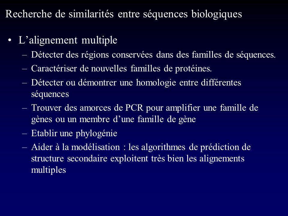 Lalignement multiple –Détecter des régions conservées dans des familles de séquences.