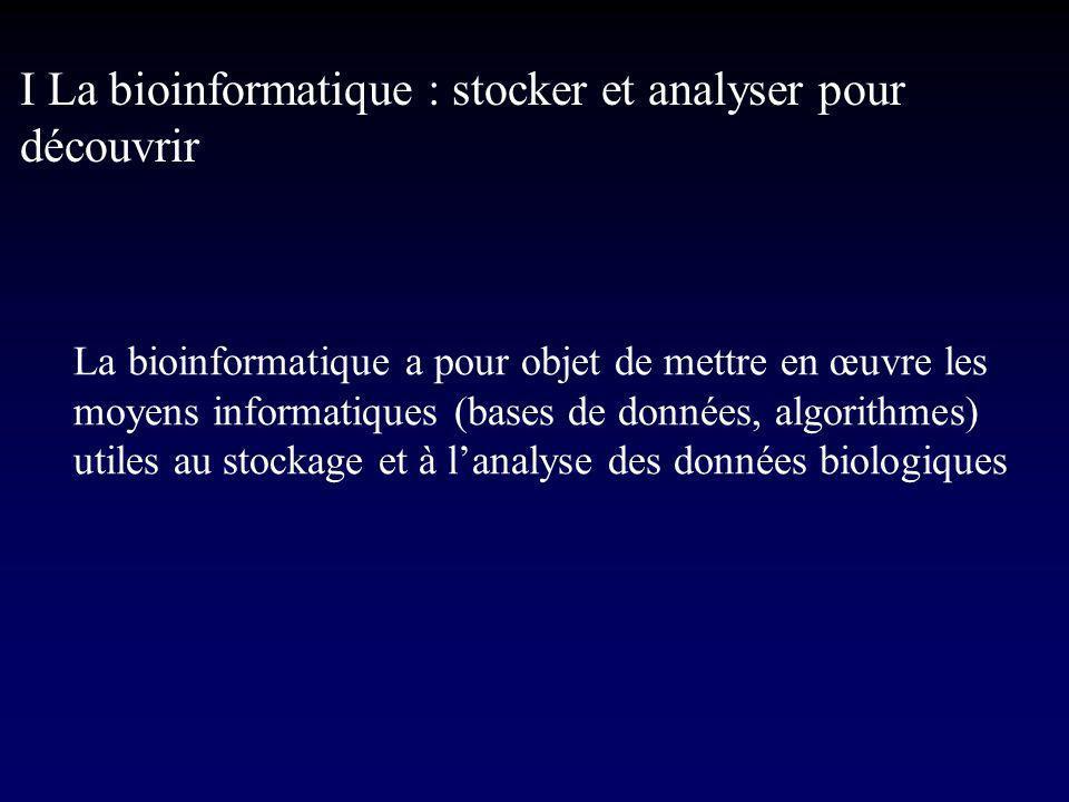 I La bioinformatique : stocker et analyser pour découvrir La bioinformatique a pour objet de mettre en œuvre les moyens informatiques (bases de données, algorithmes) utiles au stockage et à lanalyse des données biologiques