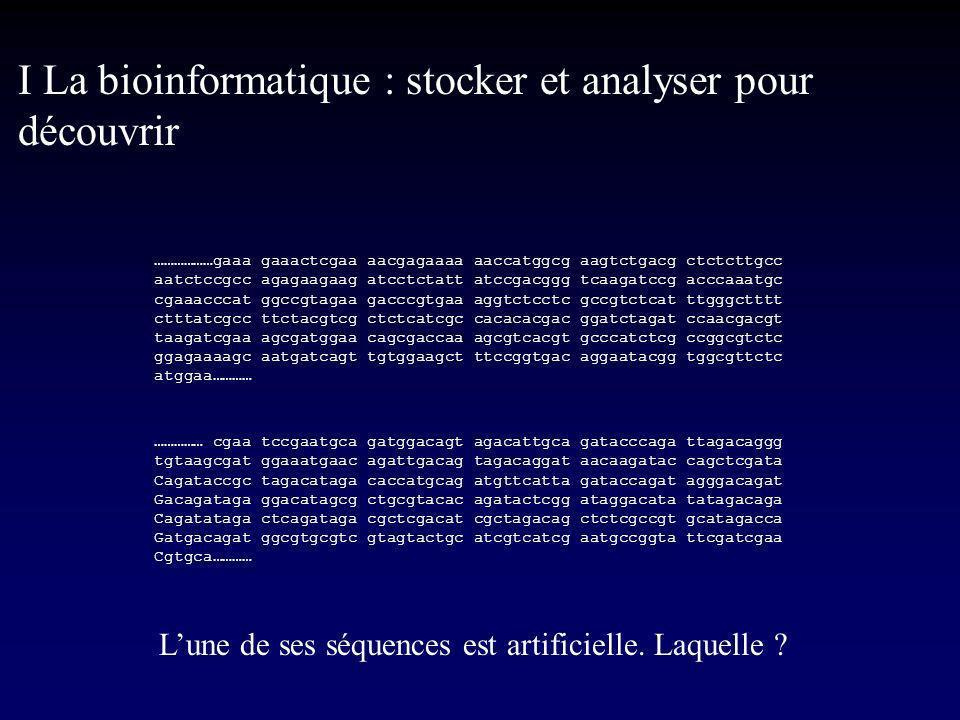 I La bioinformatique : stocker et analyser pour découvrir ………………gaaa gaaactcgaa aacgagaaaa aaccatggcg aagtctgacg ctctcttgcc aatctccgcc agagaagaag atcctctatt atccgacggg tcaagatccg acccaaatgc cgaaacccat ggccgtagaa gacccgtgaa aggtctcctc gccgtctcat ttgggctttt ctttatcgcc ttctacgtcg ctctcatcgc cacacacgac ggatctagat ccaacgacgt taagatcgaa agcgatggaa cagcgaccaa agcgtcacgt gcccatctcg ccggcgtctc ggagaaaagc aatgatcagt tgtggaagct ttccggtgac aggaatacgg tggcgttctc atggaa………… …………… cgaa tccgaatgca gatggacagt agacattgca gatacccaga ttagacaggg tgtaagcgat ggaaatgaac agattgacag tagacaggat aacaagatac cagctcgata Cagataccgc tagacataga caccatgcag atgttcatta gataccagat agggacagat Gacagataga ggacatagcg ctgcgtacac agatactcgg ataggacata tatagacaga Cagatataga ctcagataga cgctcgacat cgctagacag ctctcgccgt gcatagacca Gatgacagat ggcgtgcgtc gtagtactgc atcgtcatcg aatgccggta ttcgatcgaa Cgtgca………… Lune de ses séquences est artificielle.