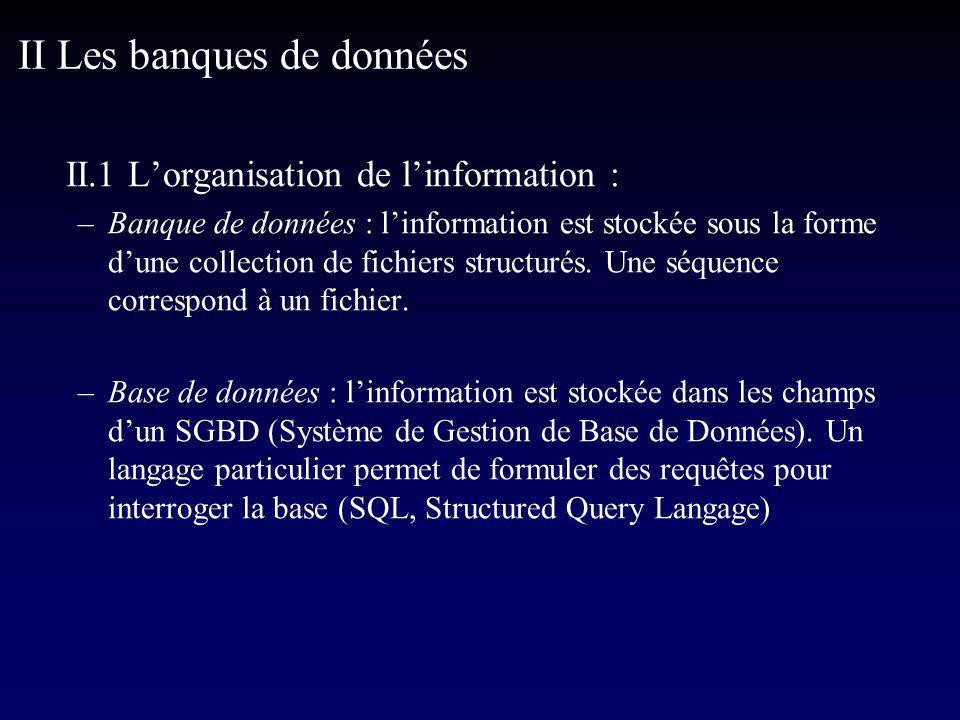 II.1 Lorganisation de linformation : –Banque de données : linformation est stockée sous la forme dune collection de fichiers structurés.