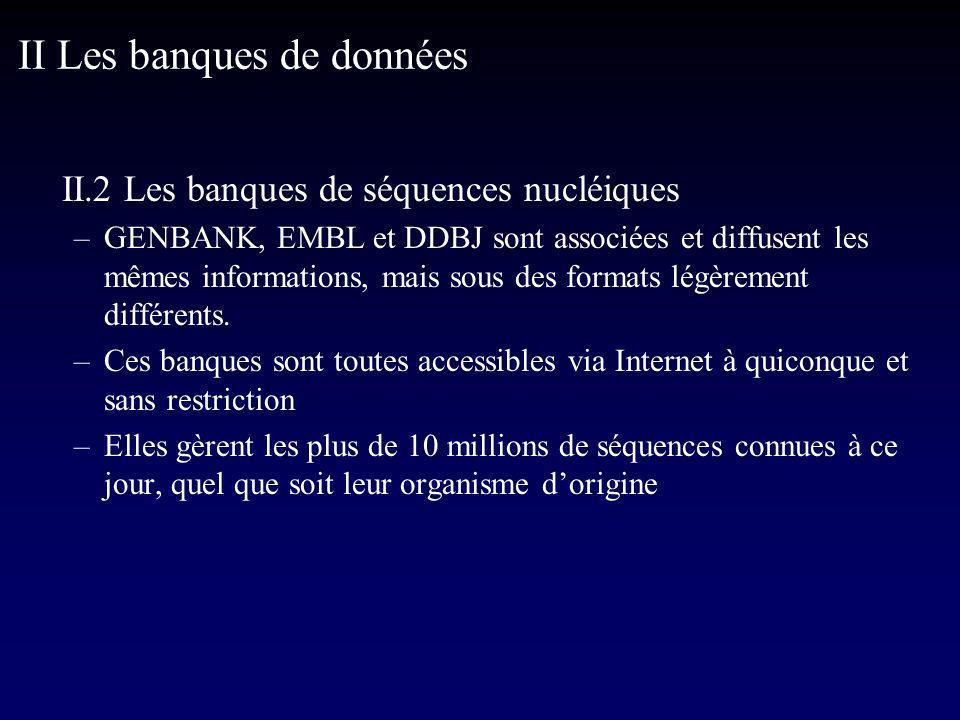 II.2 Les banques de séquences nucléiques –GENBANK, EMBL et DDBJ sont associées et diffusent les mêmes informations, mais sous des formats légèrement différents.