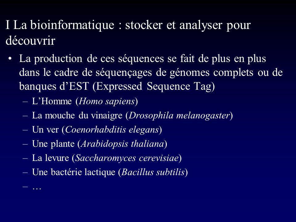 I La bioinformatique : stocker et analyser pour découvrir Le séquençage des génomes est une tache complexe et gigantesque qui réclame la mise au point de logiciels capables dautomatiser la plupart des étapes –Exemple du séquençage dun génome complet I Production dune banque BAC (Bacterial Artificial Chromosome) II Ordonnancement des BAC III Séquençage des BAC en « shot gun » IV Assemblage des séquences de BAC en chromosome V Annotation de la séquence du génome
