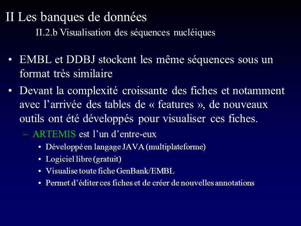 EMBL et DDBJ stockent les même séquences sous un format très similaire Devant la complexité croissante des fiches et notamment avec larrivée des tables de « features », de nouveaux outils ont été développés pour visualiser ces fiches.