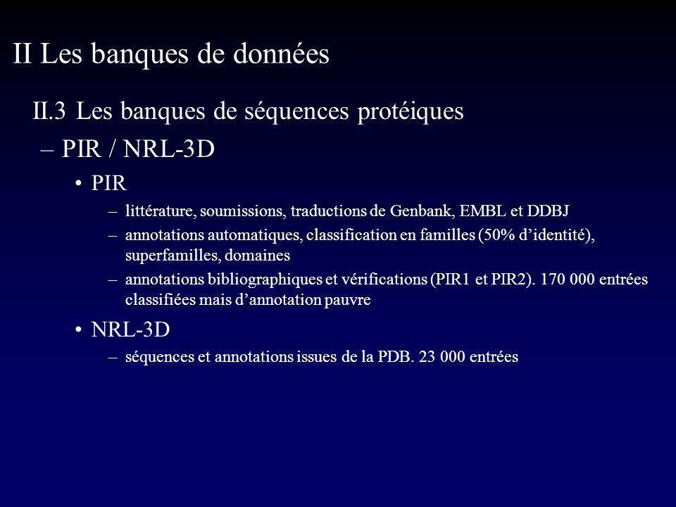 II.3 Les banques de séquences protéiques –PIR / NRL-3D PIR –littérature, soumissions, traductions de Genbank, EMBL et DDBJ –annotations automatiques, classification en familles (50% didentité), superfamilles, domaines –annotations bibliographiques et vérifications (PIR1 et PIR2).