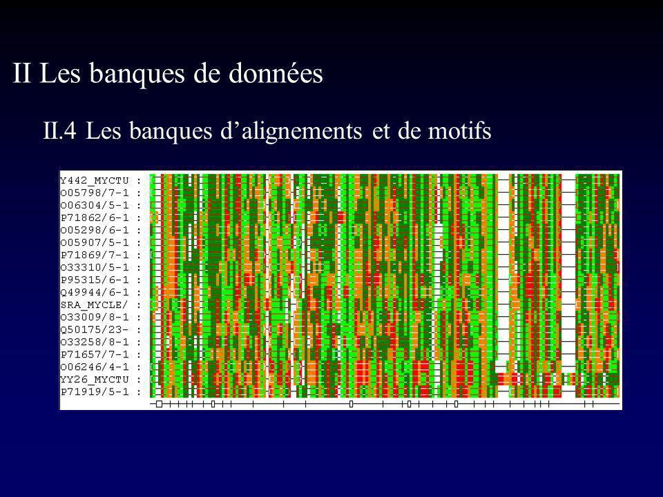 II Les banques de données II.4 Les banques dalignements et de motifs