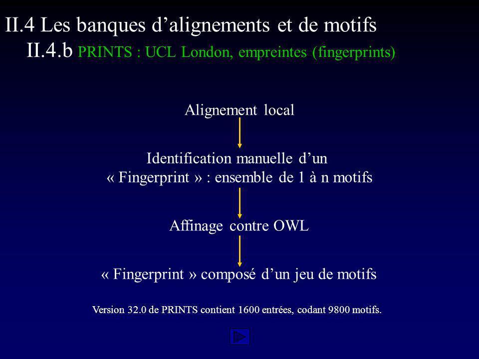 Alignement local Identification manuelle dun « Fingerprint » : ensemble de 1 à n motifs Affinage contre OWL « Fingerprint » composé dun jeu de motifs Version 32.0 de PRINTS contient 1600 entrées, codant 9800 motifs.