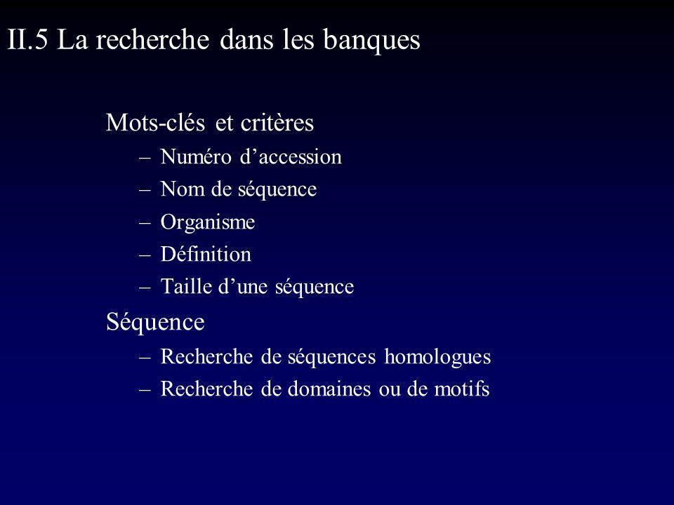 Mots-clés et critères –Numéro daccession –Nom de séquence –Organisme –Définition –Taille dune séquence Séquence –Recherche de séquences homologues –Recherche de domaines ou de motifs II.5 La recherche dans les banques