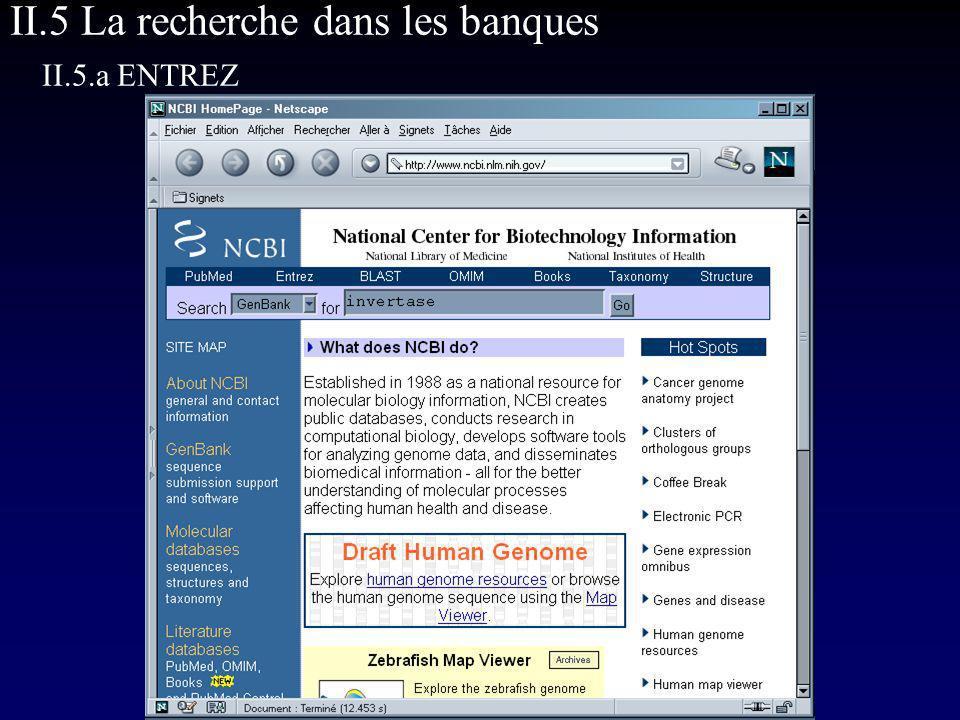 II.5 La recherche dans les banques II.5.a ENTREZ