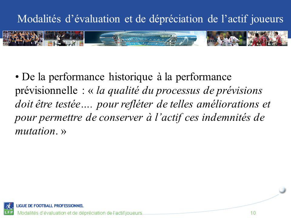 Modalités dévaluation et de dépréciation de lactif joueurs Modalités dévaluation et de dépréciation de lactif joueurs10 De la performance historique à la performance prévisionnelle : « la qualité du processus de prévisions doit être testée….