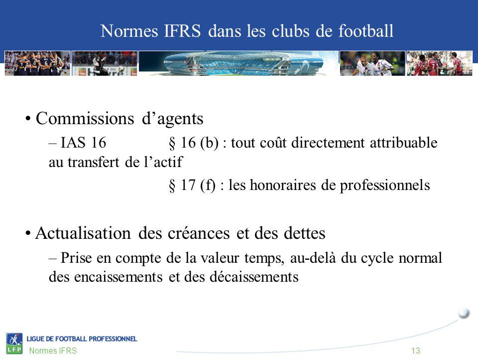 Commissions dagents – IAS 16 § 16 (b) : tout coût directement attribuable au transfert de lactif § 17 (f) : les honoraires de professionnels Actualisation des créances et des dettes – Prise en compte de la valeur temps, au-delà du cycle normal des encaissements et des décaissements Normes IFRS dans les clubs de football Normes IFRS13