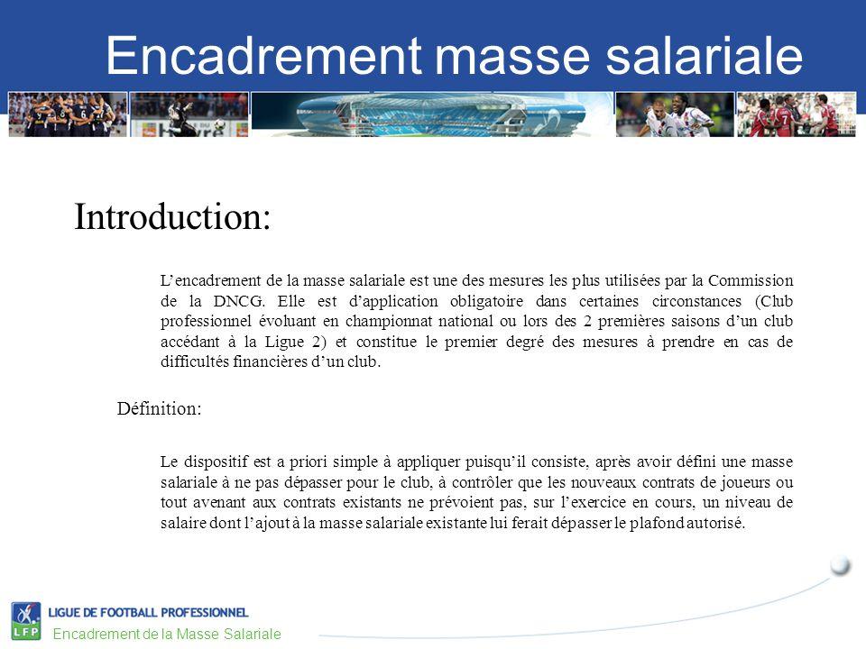 Encadrement masse salariale Encadrement de la Masse Salariale Application: Lintérêt dune mesure de limitation de la masse salariale est quelle permet de sassurer la maîtrise du principal poste de dépenses du club (pour rappel la part de la masse salariale chargée des clubs professionnels représente plus de 58% du total des charges).