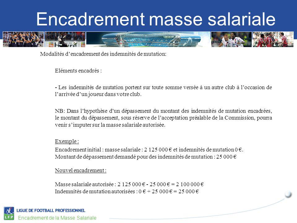 Encadrement masse salariale Encadrement de la Masse Salariale Modalités dencadrement des indemnités de mutation: Eléments encadrés : - Les indemnités