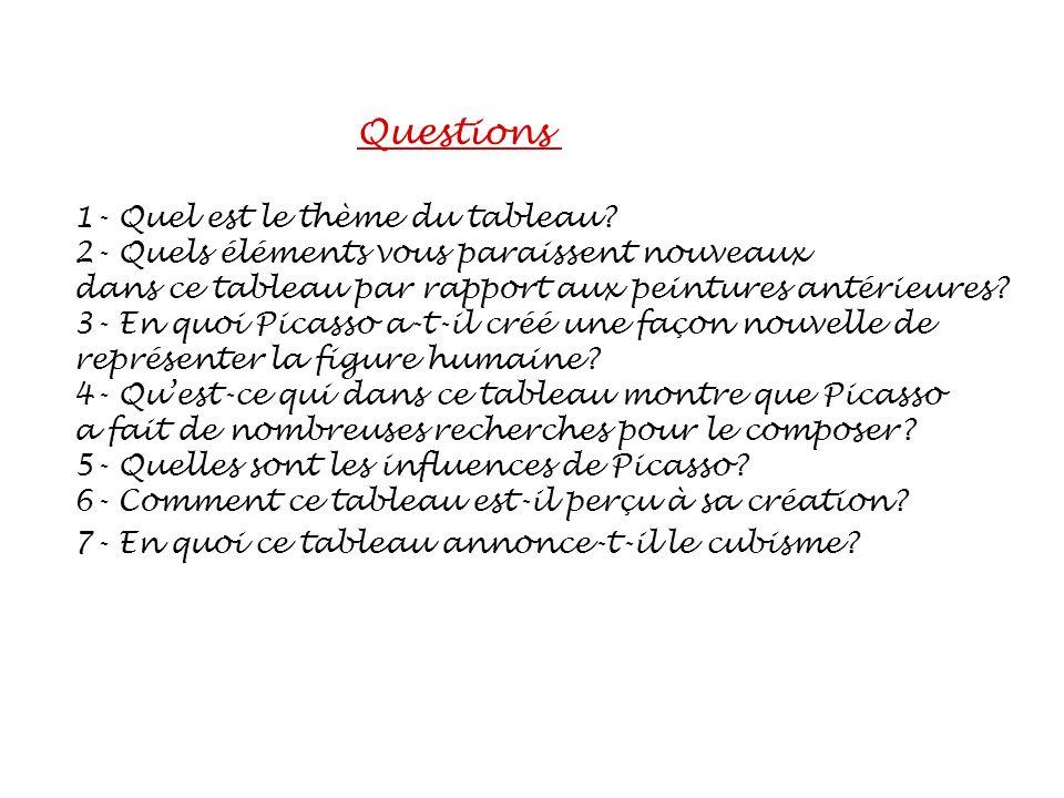 Questions 1- Quel est le thème du tableau? 2- Quels éléments vous paraissent nouveaux dans ce tableau par rapport aux peintures antérieures? 3- En quo