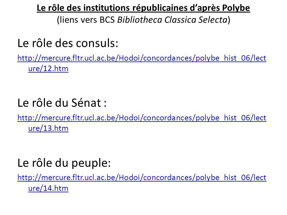 Le rôle des institutions républicaines daprès Polybe (liens vers BCS Bibliotheca Classica Selecta) Le rôle des consuls: http://mercure.fltr.ucl.ac.be/
