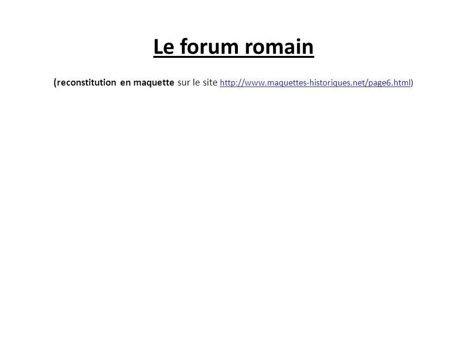 Le forum romain (reconstitution en maquette sur le site http://www.maquettes-historiques.net/page6.html) http://www.maquettes-historiques.net/page6.ht