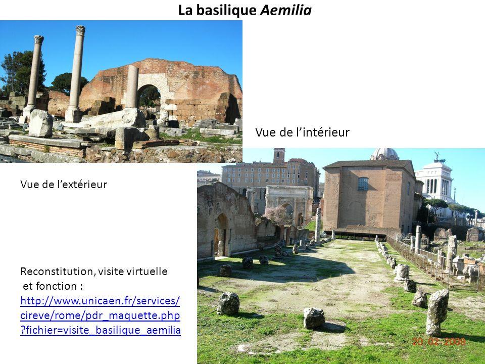 La basilique Aemilia Vue de lintérieur Vue de lextérieur Reconstitution, visite virtuelle et fonction : http://www.unicaen.fr/services/ cireve/rome/pd