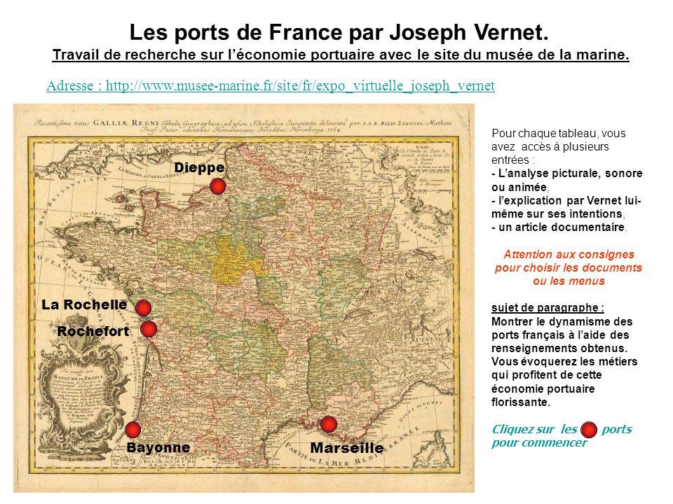 Les ports de France par Joseph Vernet. Travail de recherche sur léconomie portuaire avec le site du musée de la marine. Pour chaque tableau, vous avez