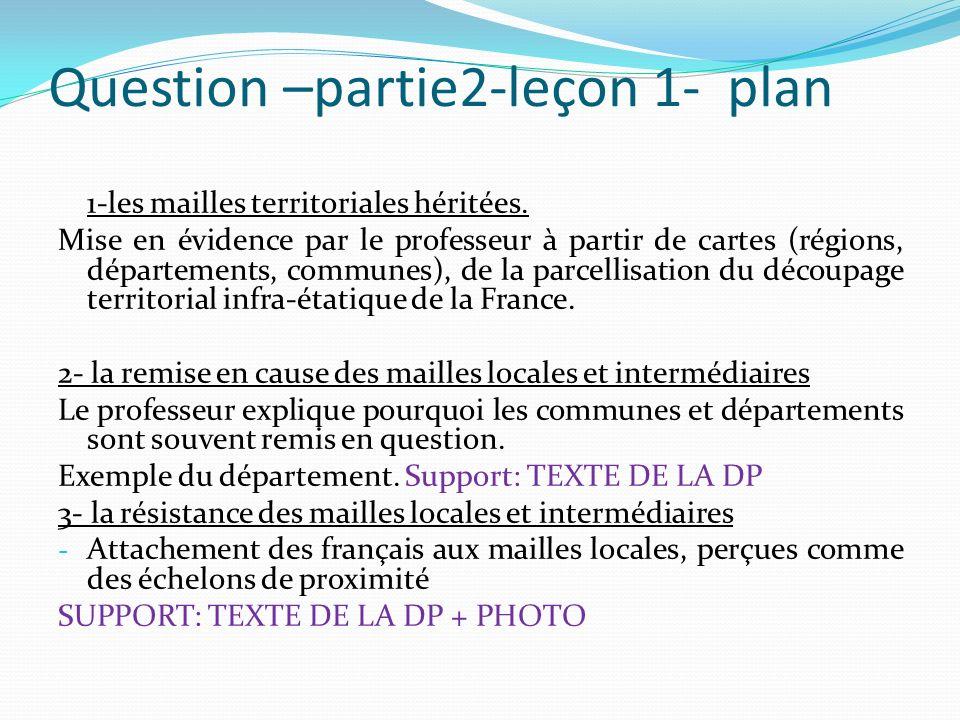 Question –partie2-leçon 1- plan 1-les mailles territoriales héritées. Mise en évidence par le professeur à partir de cartes (régions, départements, co