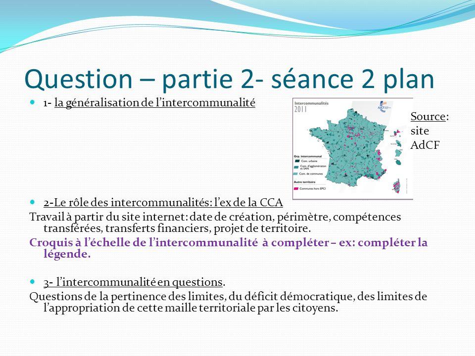 Question – partie 2- séance 2 plan 1- la généralisation de lintercommunalité 2-Le rôle des intercommunalités: lex de la CCA Travail à partir du site i