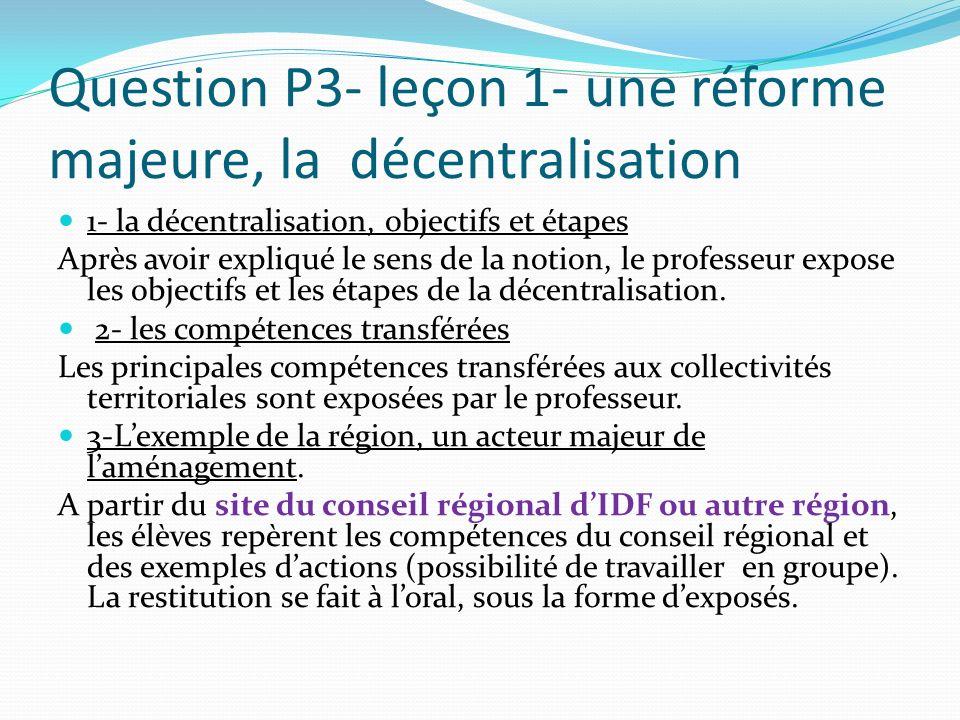 Question P3- leçon 1- une réforme majeure, la décentralisation 1- la décentralisation, objectifs et étapes Après avoir expliqué le sens de la notion,