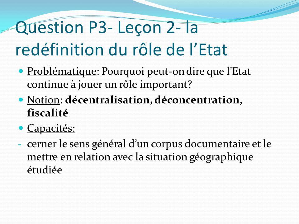 Question P3- Leçon 2- la redéfinition du rôle de lEtat Problématique: Pourquoi peut-on dire que lEtat continue à jouer un rôle important? Notion: déce