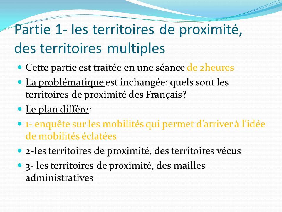 Partie 1- les territoires de proximité, des territoires multiples Cette partie est traitée en une séance de 2heures La problématique est inchangée: qu