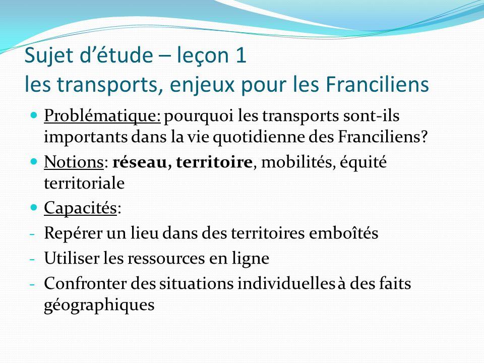 Sujet détude – leçon 1 les transports, enjeux pour les Franciliens Problématique: pourquoi les transports sont-ils importants dans la vie quotidienne