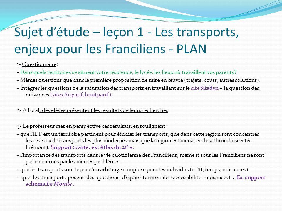 Sujet détude – leçon 1 - Les transports, enjeux pour les Franciliens - PLAN 1- Questionnaire: - Dans quels territoires se situent votre résidence, le