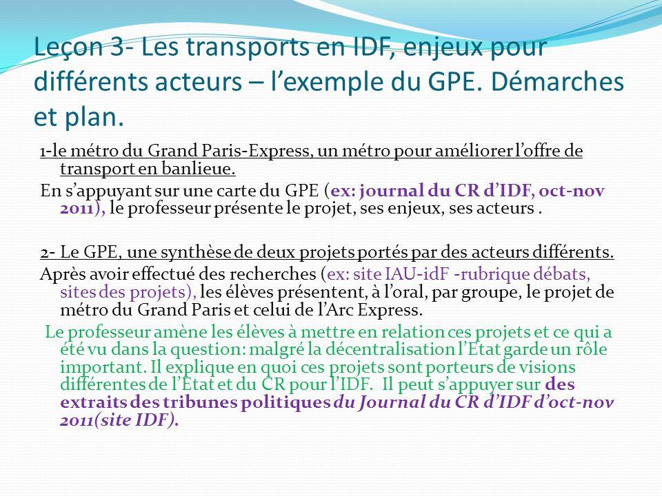 Leçon 3- Les transports en IDF, enjeux pour différents acteurs – lexemple du GPE. Démarches et plan. 1-le métro du Grand Paris-Express, un métro pour