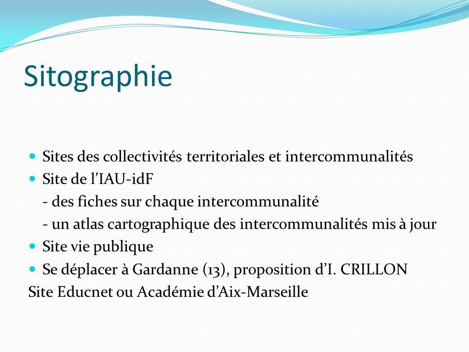 Sitographie Sites des collectivités territoriales et intercommunalités Site de lIAU-idF - des fiches sur chaque intercommunalité - un atlas cartograph