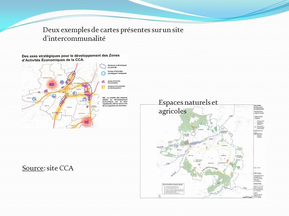 Espaces naturels et agricoles Source: site CCA Deux exemples de cartes présentes sur un site dintercommunalité