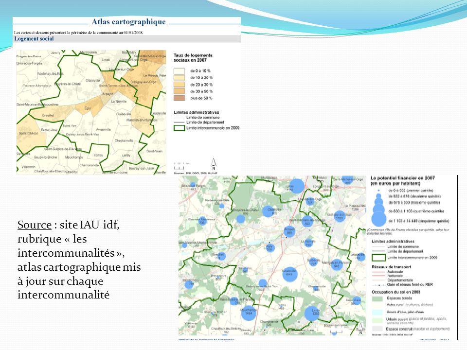 Source : site IAU idf, rubrique « les intercommunalités », atlas cartographique mis à jour sur chaque intercommunalité