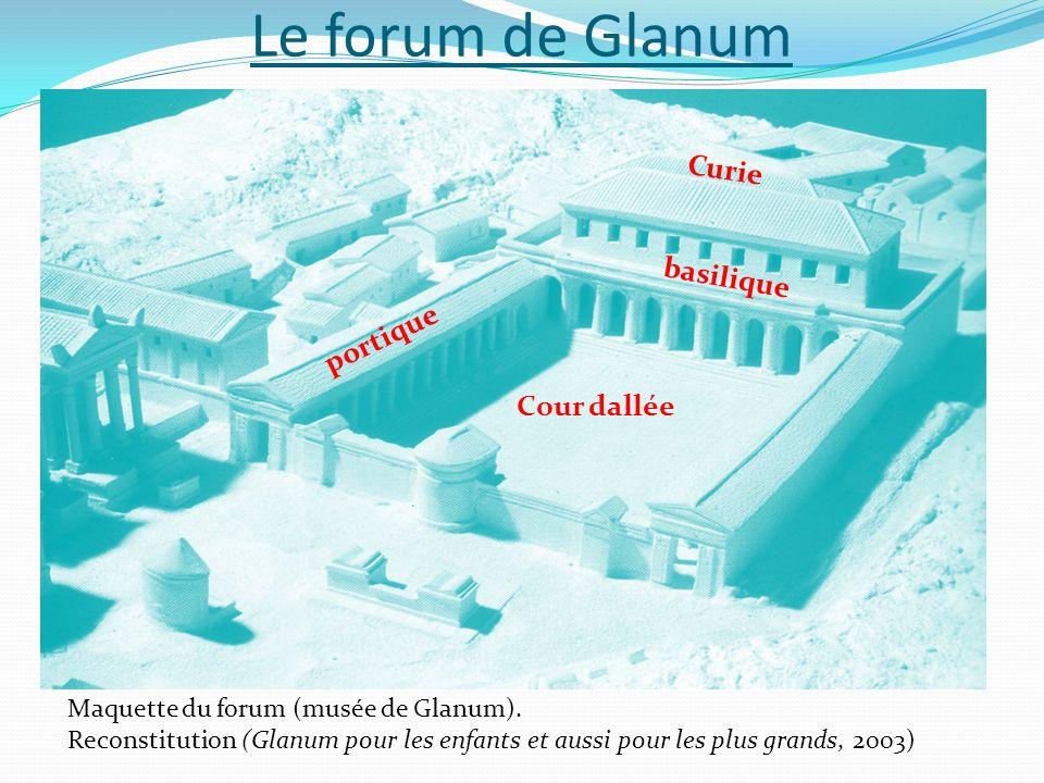 Le forum de Glanum Maquette du forum (musée de Glanum). Reconstitution (Glanum pour les enfants et aussi pour les plus grands, 2003) Cour dallée basil