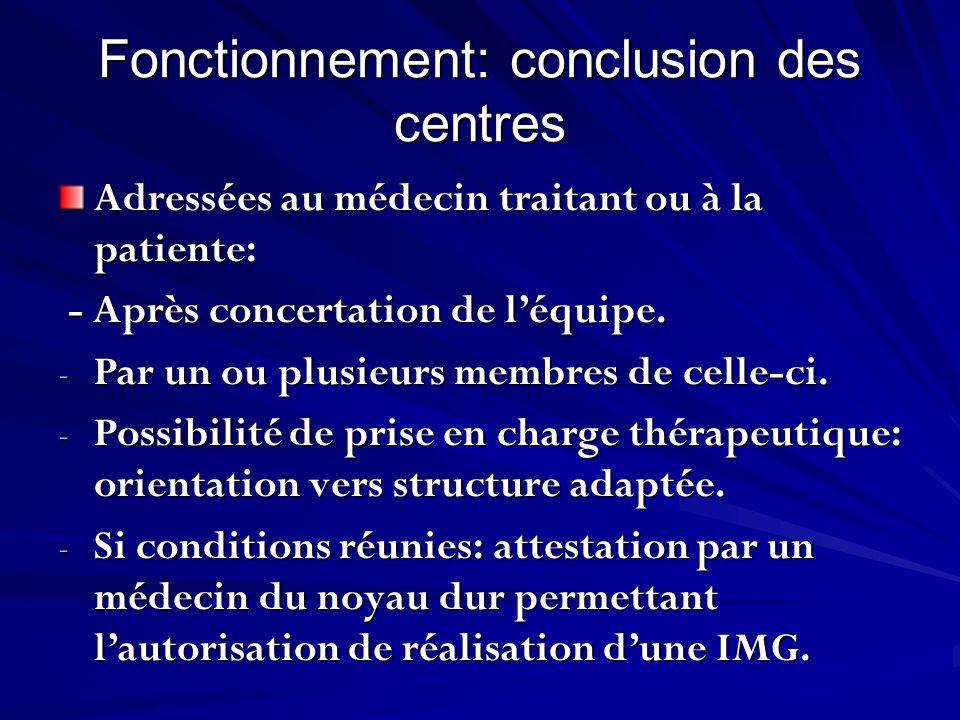 Fonctionnement: conclusion des centres Adressées au médecin traitant ou à la patiente: - Après concertation de léquipe. - Après concertation de léquip