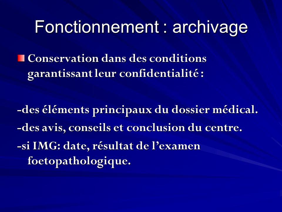 Fonctionnement : archivage Conservation dans des conditions garantissant leur confidentialité : -des éléments principaux du dossier médical. -des avis