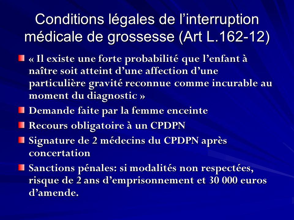 Conditions légales de linterruption médicale de grossesse (Art L.162-12) « Il existe une forte probabilité que lenfant à naître soit atteint dune affe
